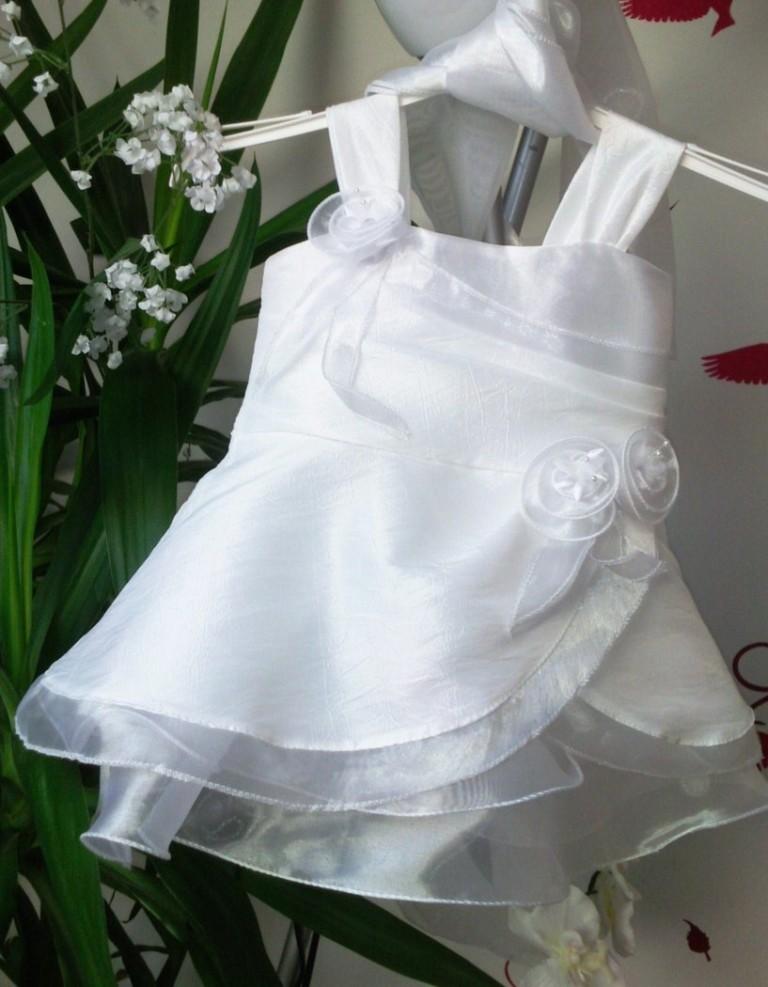 Robe de mariage pour bébé et fille Blanche pour cérémonie type mariage, communion, bapteme